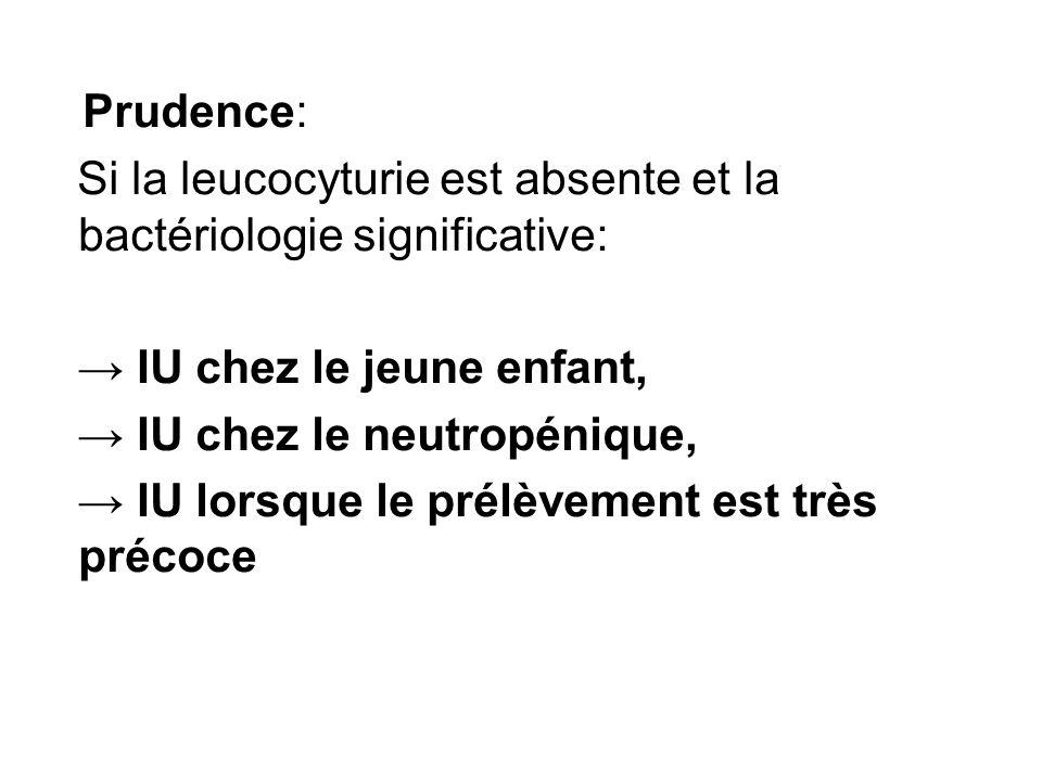 Prudence: Si la leucocyturie est absente et la bactériologie significative: IU chez le jeune enfant, IU chez le neutropénique, IU lorsque le prélèveme