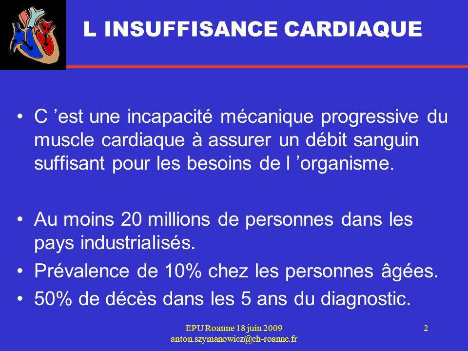 EPU Roanne 18 juin 2009 anton.szymanowicz@ch-roanne.fr 3 55 ans: 1 personne sur 3 va développer une Insuffisance cardiaque Age moyen: 74 ans Survie à 5 ans après premier diagnostic: 35 % Coût total en France estimé à 700 M dont 530 M attribués au coût des hospitalisations.