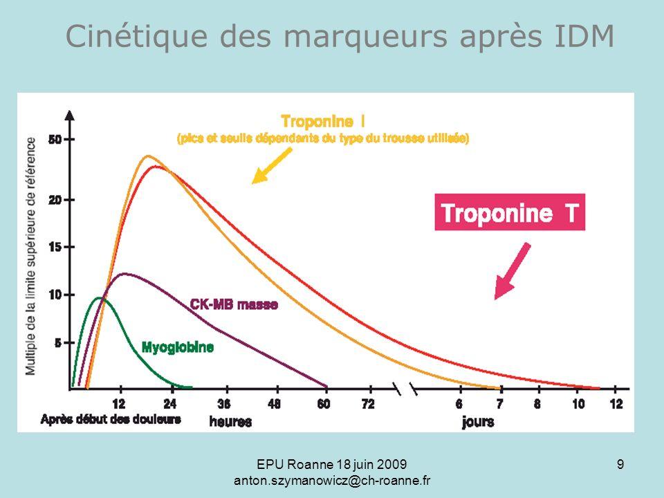 EPU Roanne 18 juin 2009 anton.szymanowicz@ch-roanne.fr 10 ST + (STEMI) IDM SANS sus-décalage ST (NSTEMI) Angor Instable Syndrome Coronaire AiguAngor stable T - T + Place de la troponine T dans le SCA