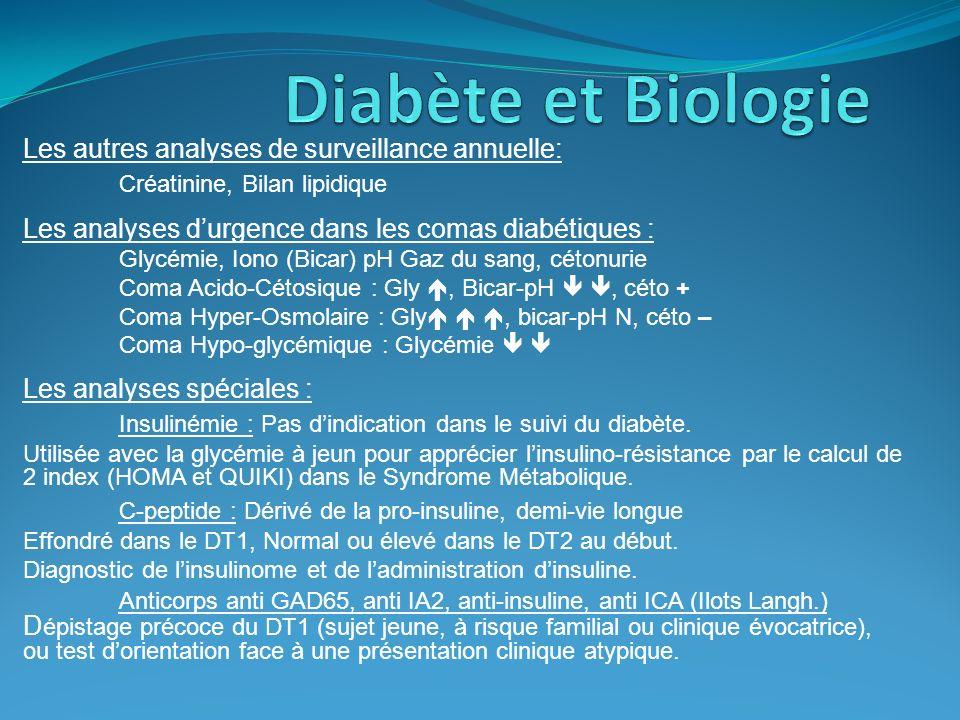 Les autres analyses de surveillance annuelle: Créatinine, Bilan lipidique Les analyses durgence dans les comas diabétiques : Glycémie, Iono (Bicar) pH