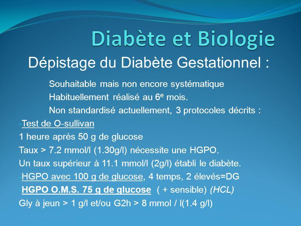 Dépistage du Diabète Gestationnel : Souhaitable mais non encore systématique Habituellement réalisé au 6 e mois. Non standardisé actuellement, 3 proto