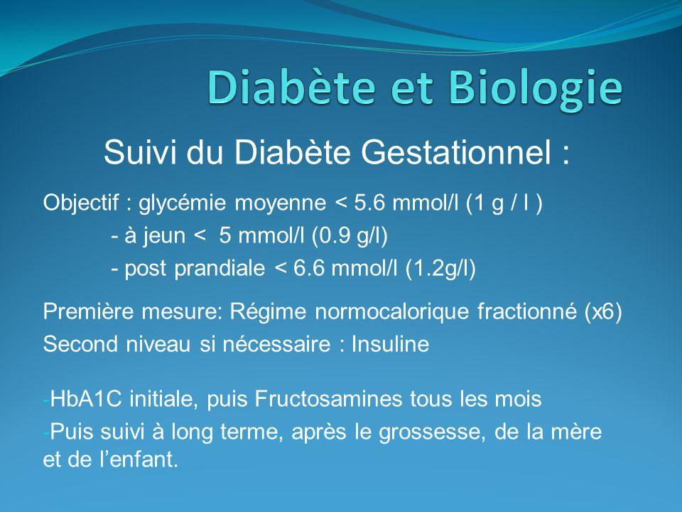 Suivi du Diabète Gestationnel : Objectif : glycémie moyenne < 5.6 mmol/l (1 g / l ) - à jeun < 5 mmol/l (0.9 g/l) - post prandiale < 6.6 mmol/l (1.2g/
