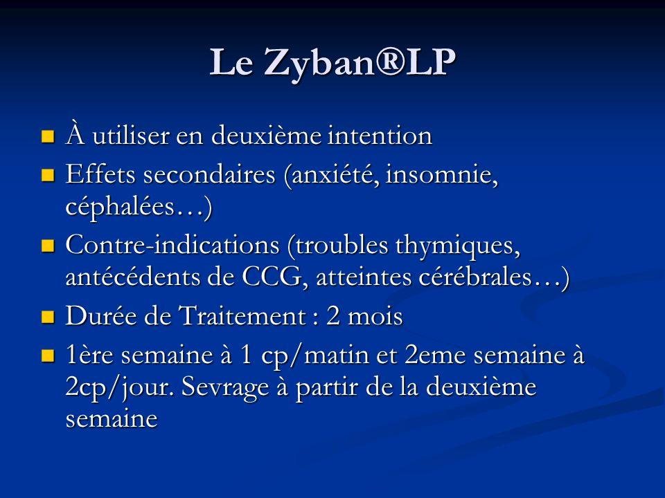 Le Zyban®LP À utiliser en deuxième intention À utiliser en deuxième intention Effets secondaires (anxiété, insomnie, céphalées…) Effets secondaires (a