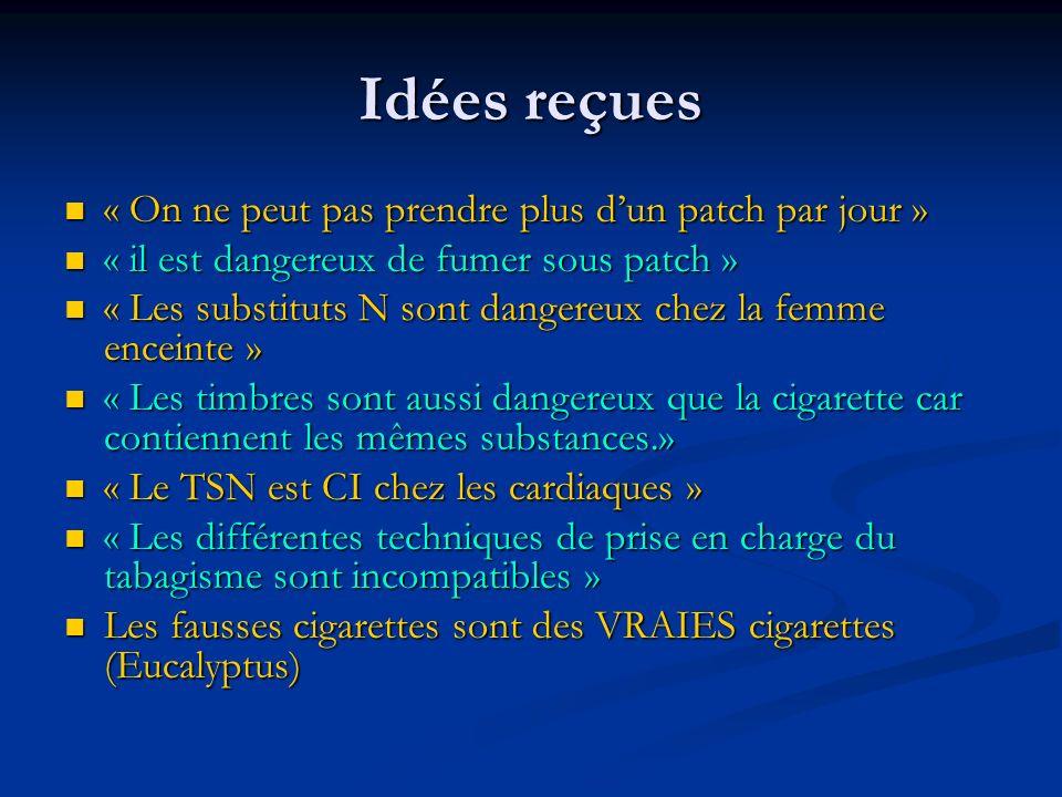 Idées reçues « On ne peut pas prendre plus dun patch par jour » « On ne peut pas prendre plus dun patch par jour » « il est dangereux de fumer sous pa