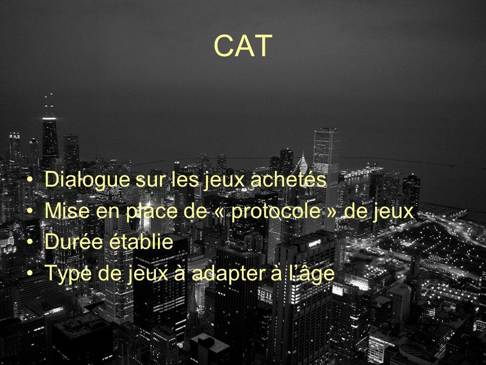 CAT Dialogue sur les jeux achetés Mise en place de « protocole » de jeux Durée établie Type de jeux à adapter à lâge