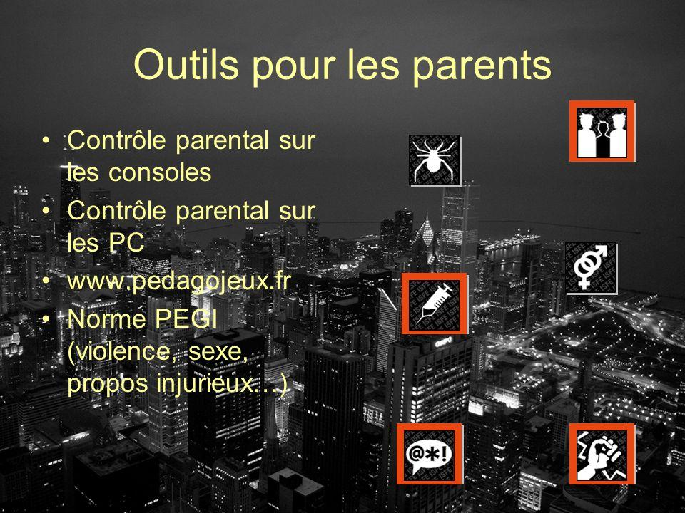 Outils pour les parents Contrôle parental sur les consoles Contrôle parental sur les PC www.pedagojeux.fr Norme PEGI (violence, sexe, propos injurieux
