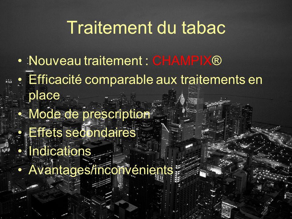 Traitement du tabac Nouveau traitement : CHAMPIX® Efficacité comparable aux traitements en place Mode de prescription Effets secondaires Indications A