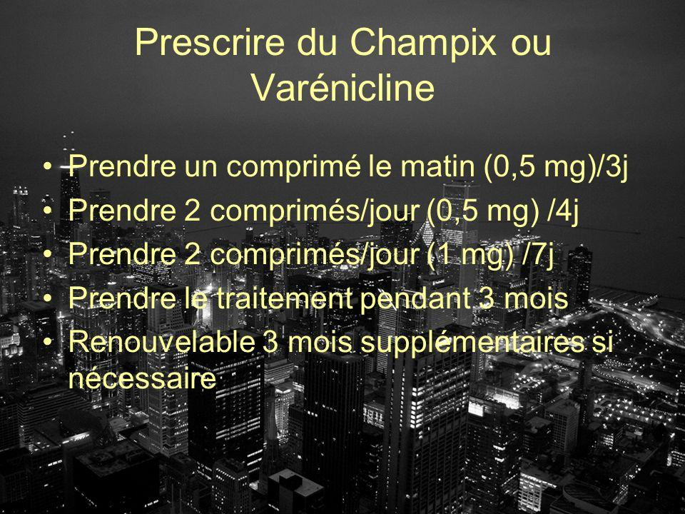 Prescrire du Champix ou Varénicline Prendre un comprimé le matin (0,5 mg)/3j Prendre 2 comprimés/jour (0,5 mg) /4j Prendre 2 comprimés/jour (1 mg) /7j