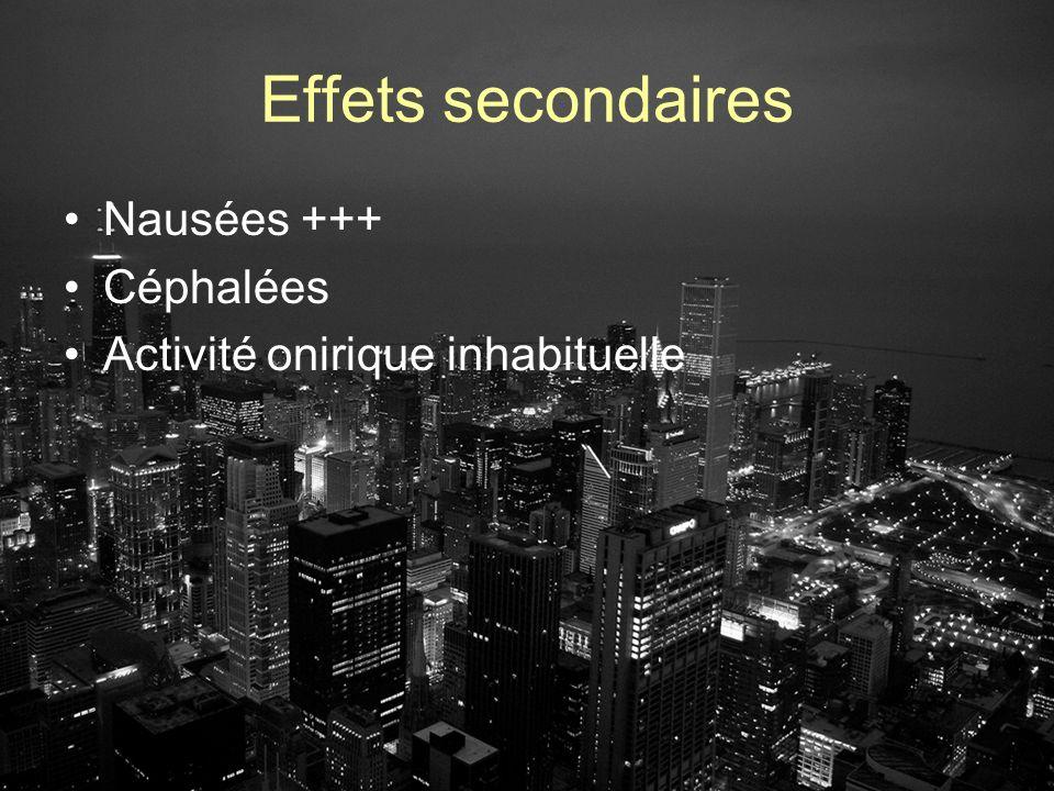 Effets secondaires Nausées +++ Céphalées Activité onirique inhabituelle