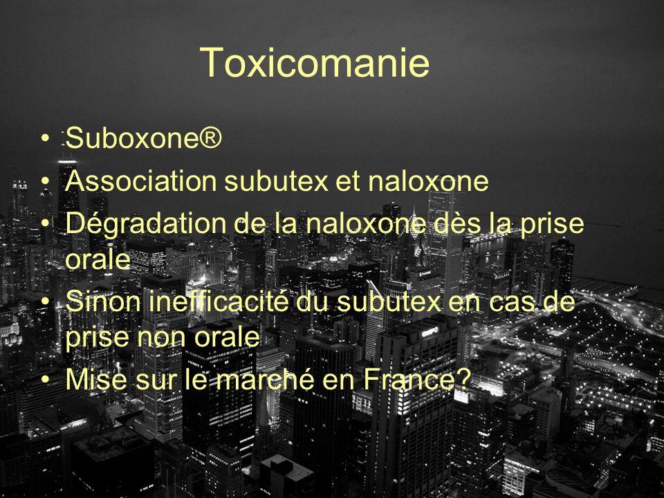 Toxicomanie Suboxone® Association subutex et naloxone Dégradation de la naloxone dès la prise orale Sinon inefficacité du subutex en cas de prise non