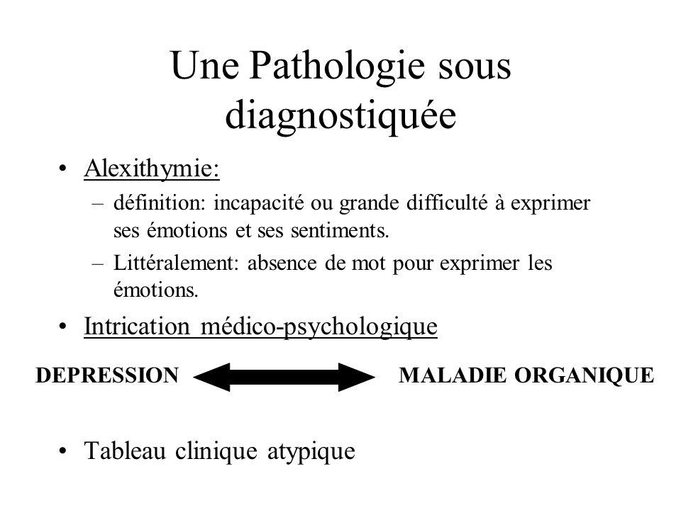 Une Pathologie sous diagnostiquée Alexithymie: –définition: incapacité ou grande difficulté à exprimer ses émotions et ses sentiments. –Littéralement: