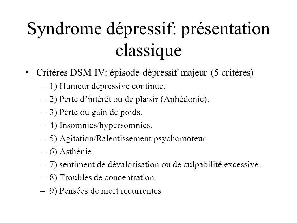 Syndrome dépressif: présentation classique Critéres DSM IV: épisode dépressif majeur (5 critères) –1) Humeur dépressive continue. –2) Perte dintérêt o