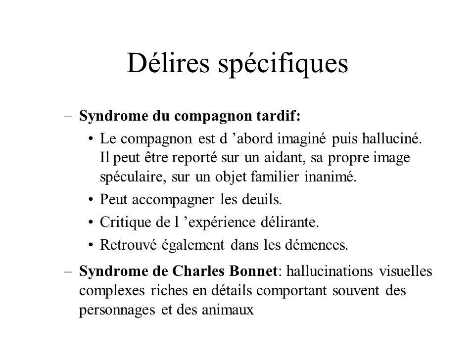 Délires spécifiques –Syndrome du compagnon tardif: Le compagnon est d abord imaginé puis halluciné. Il peut être reporté sur un aidant, sa propre imag