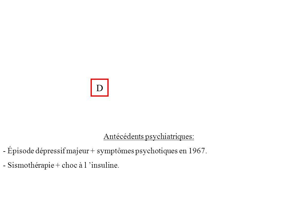 D Antécédents psychiatriques: - Épisode dépressif majeur + symptômes psychotiques en 1967. - Sismothérapie + choc à l insuline.