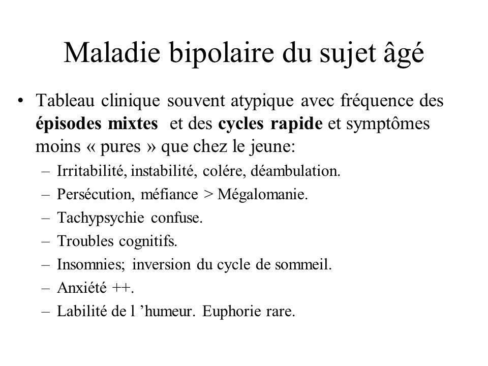 Maladie bipolaire du sujet âgé Tableau clinique souvent atypique avec fréquence des épisodes mixtes et des cycles rapide et symptômes moins « pures »