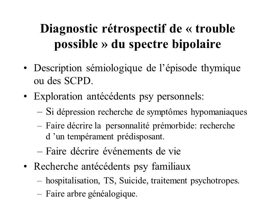 Diagnostic rétrospectif de « trouble possible » du spectre bipolaire Description sémiologique de lépisode thymique ou des SCPD. Exploration antécédent
