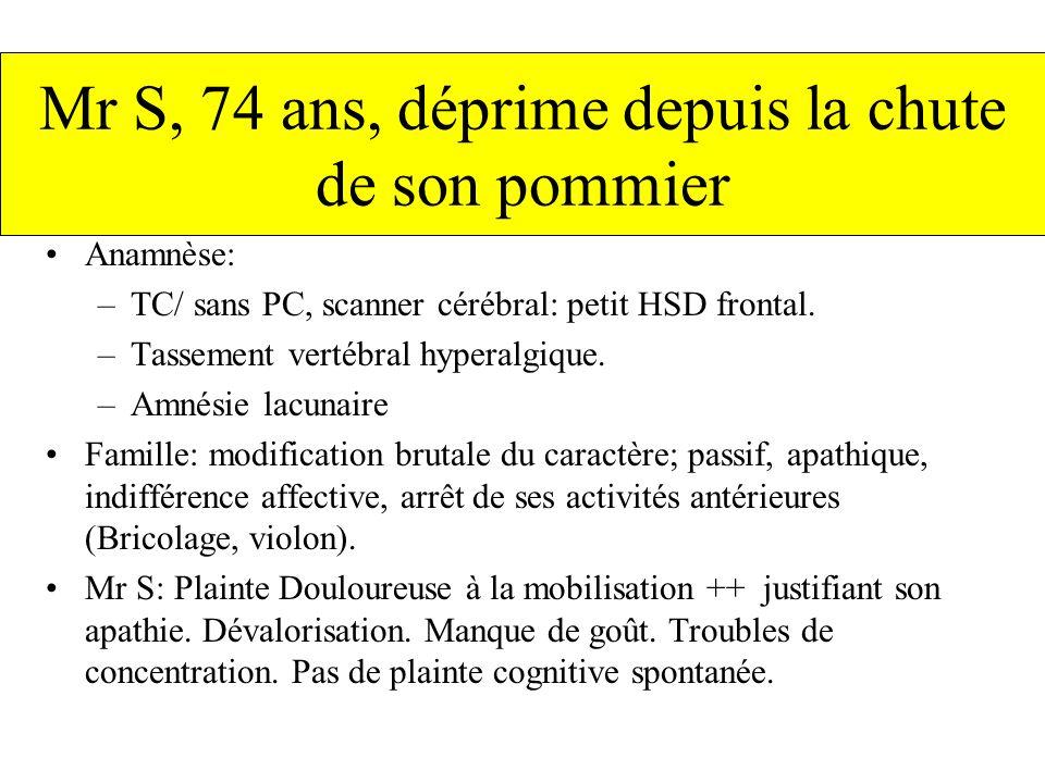 Anamnèse: –TC/ sans PC, scanner cérébral: petit HSD frontal. –Tassement vertébral hyperalgique. –Amnésie lacunaire Famille: modification brutale du ca