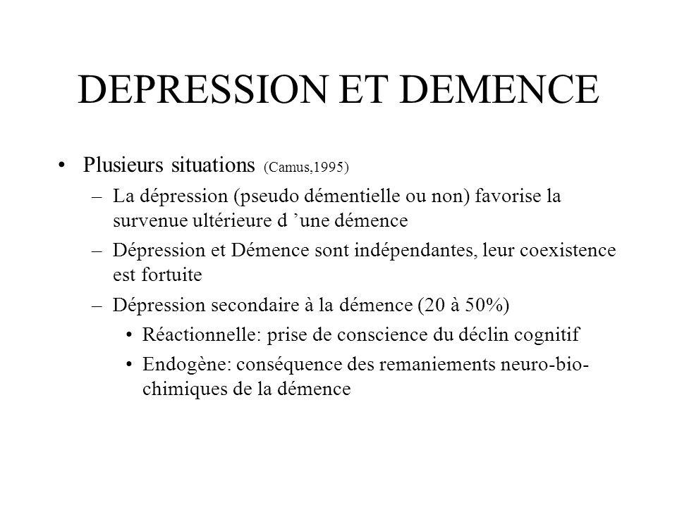 DEPRESSION ET DEMENCE Plusieurs situations (Camus,1995) –La dépression (pseudo démentielle ou non) favorise la survenue ultérieure d une démence –Dépr