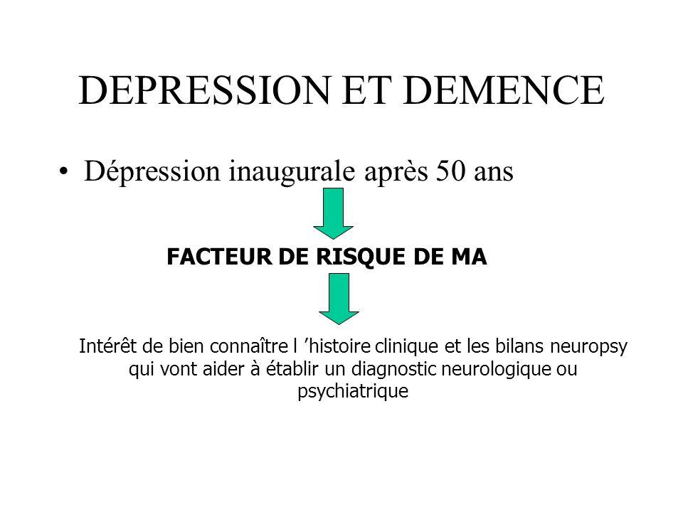 DEPRESSION ET DEMENCE Dépression inaugurale après 50 ans FACTEUR DE RISQUE DE MA Intérêt de bien connaître l histoire clinique et les bilans neuropsy