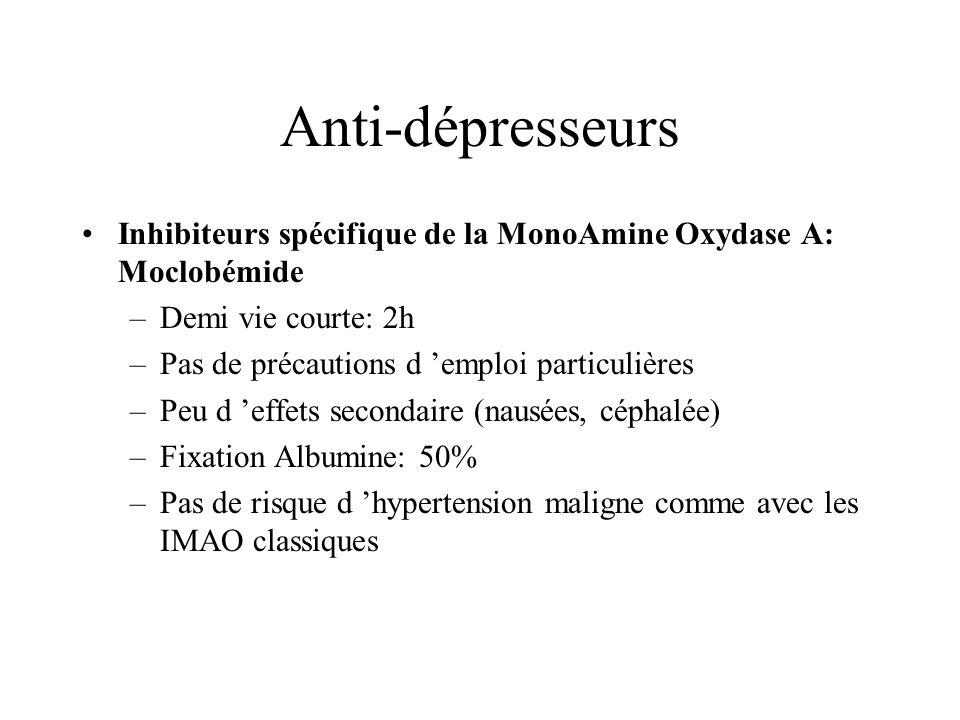 Anti-dépresseurs Inhibiteurs spécifique de la MonoAmine Oxydase A: Moclobémide –Demi vie courte: 2h –Pas de précautions d emploi particulières –Peu d