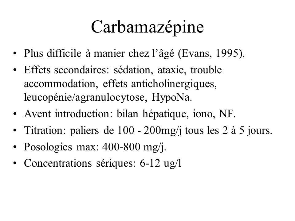 Carbamazépine Plus difficile à manier chez lâgé (Evans, 1995). Effets secondaires: sédation, ataxie, trouble accommodation, effets anticholinergiques,
