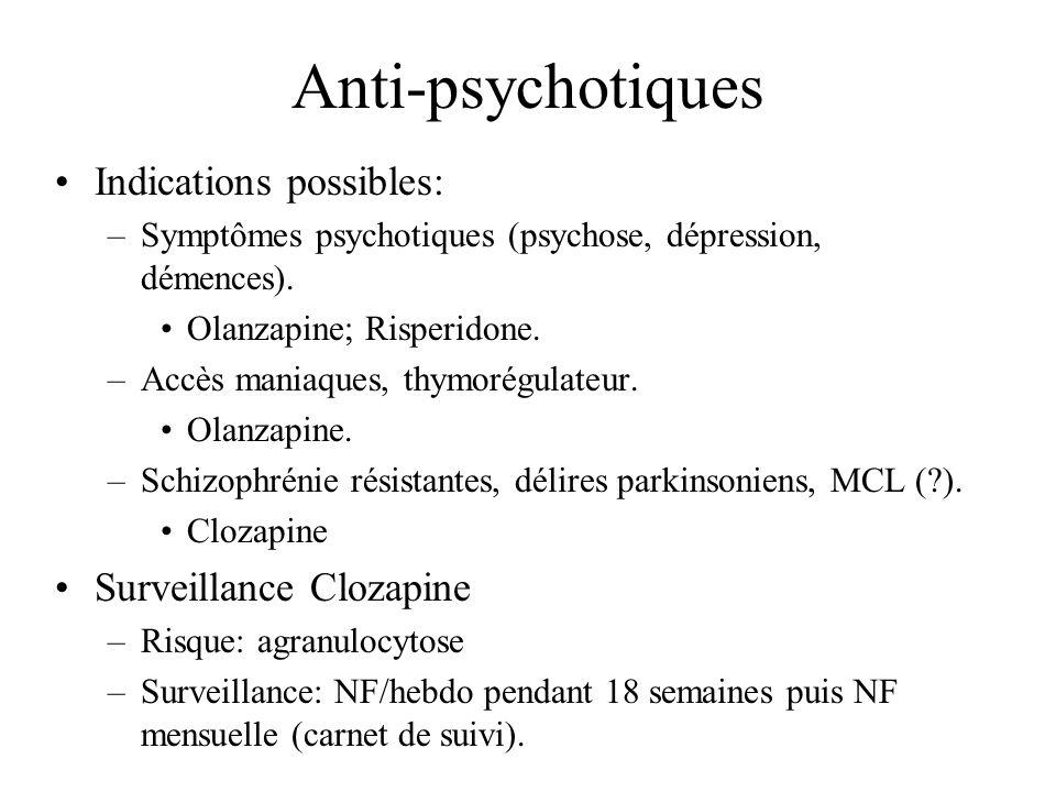 Anti-psychotiques Indications possibles: –Symptômes psychotiques (psychose, dépression, démences). Olanzapine; Risperidone. –Accès maniaques, thymorég