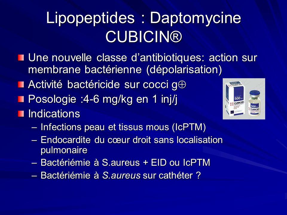 Lipopeptides : Daptomycine CUBICIN® Une nouvelle classe dantibiotiques: action sur membrane bactérienne (dépolarisation) Activité bactéricide sur cocci g Activité bactéricide sur cocci g Posologie :4-6 mg/kg en 1 inj/j Indications –Infections peau et tissus mous (IcPTM) –Endocardite du cœur droit sans localisation pulmonaire –Bactériémie à S.aureus + EID ou IcPTM –Bactériémie à S.aureus sur cathéter ?