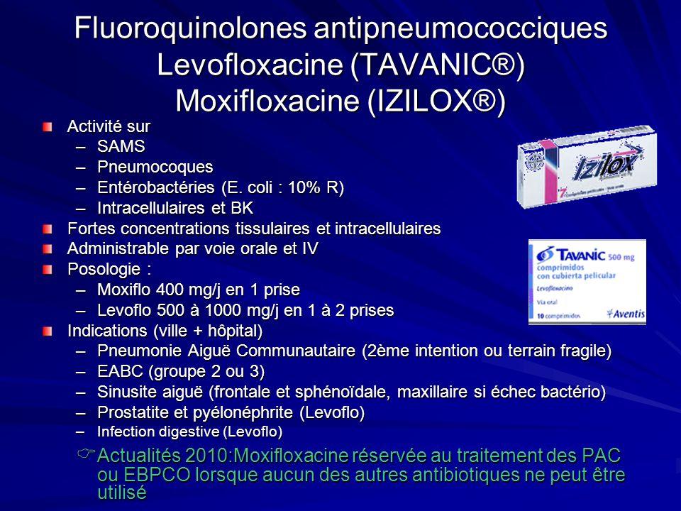 Fluoroquinolones antipneumococciques Levofloxacine (TAVANIC®) Moxifloxacine (IZILOX®) Activité sur –SAMS –Pneumocoques –Entérobactéries (E.