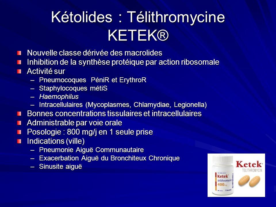 Kétolides : Télithromycine KETEK® Nouvelle classe dérivée des macrolides Inhibition de la synthèse protéique par action ribosomale Activité sur –Pneumocoques PéniR et ErythroR –Staphylocoques métiS –Haemophilus –Intracellulaires (Mycoplasmes, Chlamydiae, Legionella) Bonnes concentrations tissulaires et intracellulaires Administrable par voie orale Posologie : 800 mg/j en 1 seule prise Indications (ville) –Pneumonie Aiguë Communautaire –Exacerbation Aiguë du Bronchiteux Chronique –Sinusite aiguë