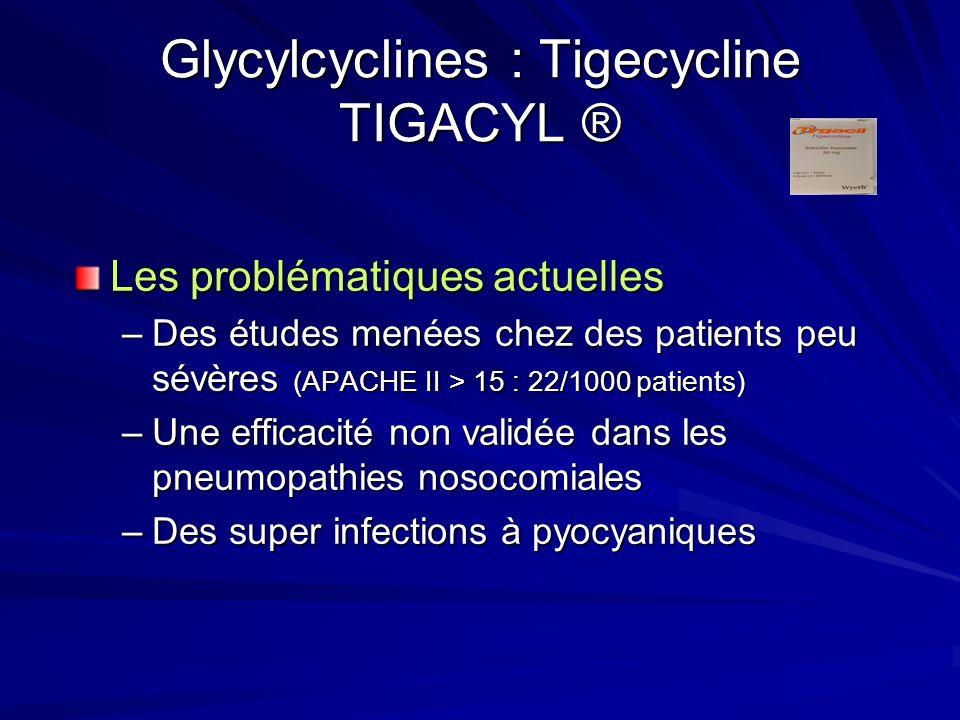 Glycylcyclines : Tigecycline TIGACYL ® Les problématiques actuelles –Des études menées chez des patients peu sévères (APACHE II > 15 : 22/1000 patients) –Une efficacité non validée dans les pneumopathies nosocomiales –Des super infections à pyocyaniques