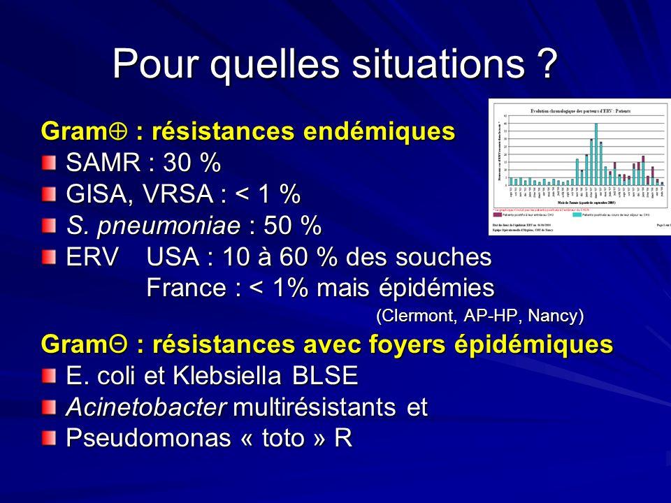 Pour quelles situations .Gram : résistances endémiques SAMR : 30 % GISA, VRSA : < 1 % S.