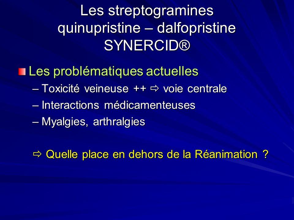 Les streptogramines quinupristine – dalfopristine SYNERCID® Les problématiques actuelles –Toxicité veineuse ++ voie centrale –Interactions médicamenteuses –Myalgies, arthralgies Quelle place en dehors de la Réanimation .
