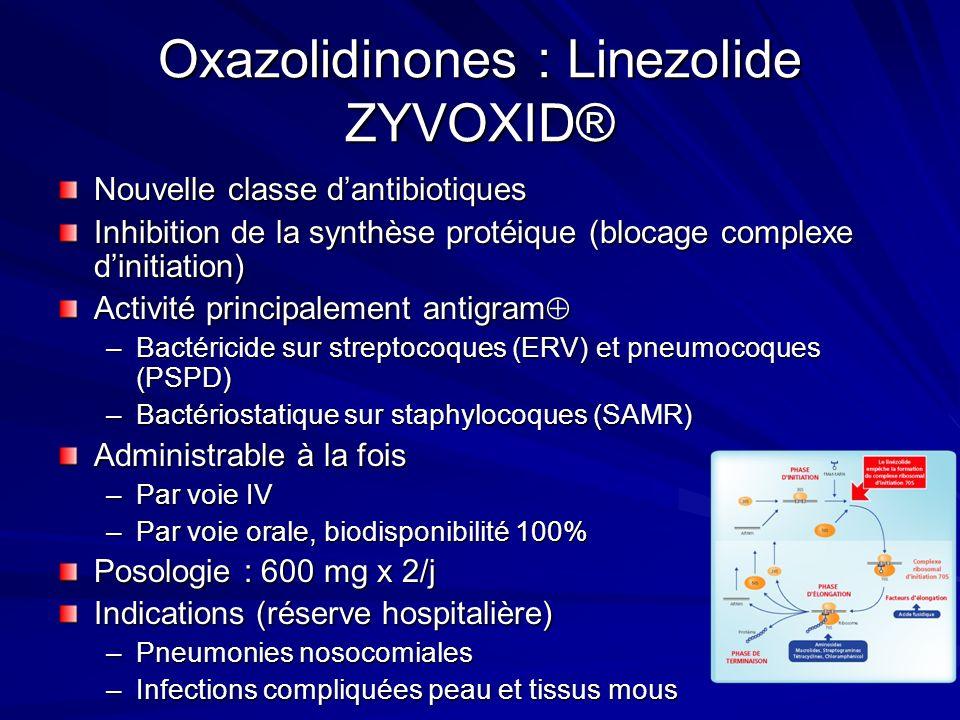 Oxazolidinones : Linezolide ZYVOXID® Nouvelle classe dantibiotiques Inhibition de la synthèse protéique (blocage complexe dinitiation) Activité principalement antigram Activité principalement antigram –Bactéricide sur streptocoques (ERV) et pneumocoques (PSPD) –Bactériostatique sur staphylocoques (SAMR) Administrable à la fois –Par voie IV –Par voie orale, biodisponibilité 100% Posologie : 600 mg x 2/j Indications (réserve hospitalière) –Pneumonies nosocomiales –Infections compliquées peau et tissus mous