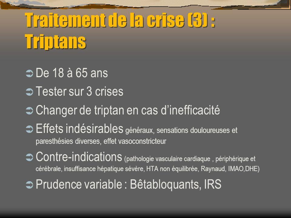 Traitement de la crise (3) : Triptans De 18 à 65 ans Tester sur 3 crises Changer de triptan en cas dinefficacité Effets indésirables généraux, sensati