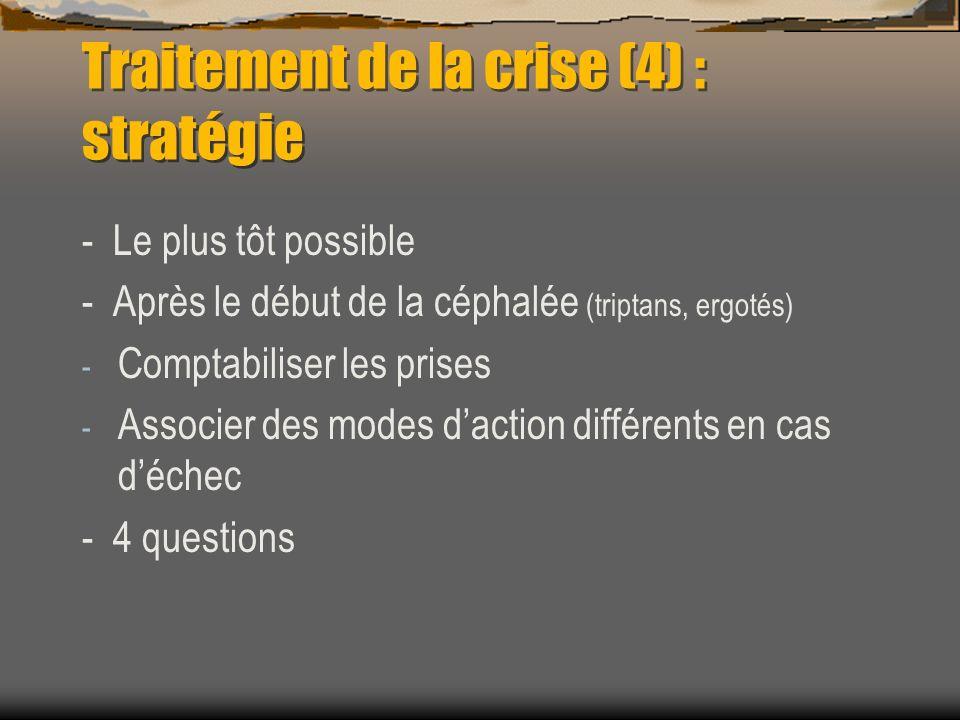 Traitement de la crise (4) : stratégie - Le plus tôt possible - Après le début de la céphalée (triptans, ergotés) - Comptabiliser les prises - Associe