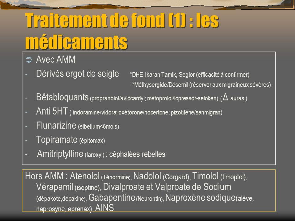Traitement de fond (1) : les médicaments Avec AMM - Dérivés ergot de seigle *DHE Ikaran Tamik, Seglor (efficacité à confirmer) *Méthysergide/Désernil