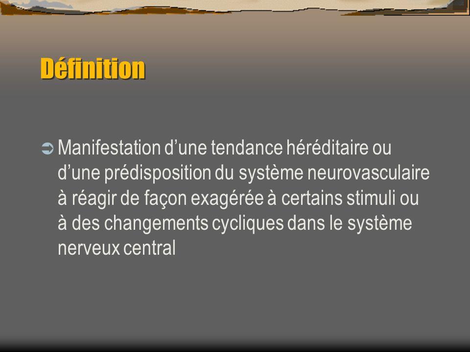 Définition Manifestation dune tendance héréditaire ou dune prédisposition du système neurovasculaire à réagir de façon exagérée à certains stimuli ou