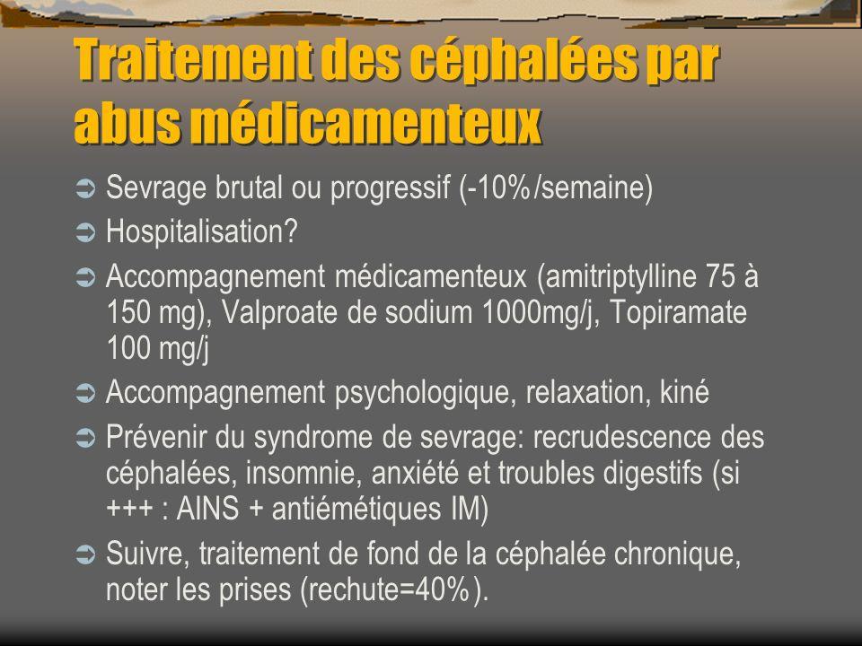 Traitement des céphalées par abus médicamenteux Sevrage brutal ou progressif (-10%/semaine) Hospitalisation? Accompagnement médicamenteux (amitriptyll