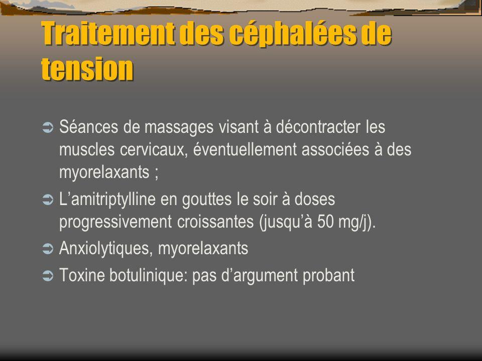 Traitement des céphalées de tension Séances de massages visant à décontracter les muscles cervicaux, éventuellement associées à des myorelaxants ; Lam