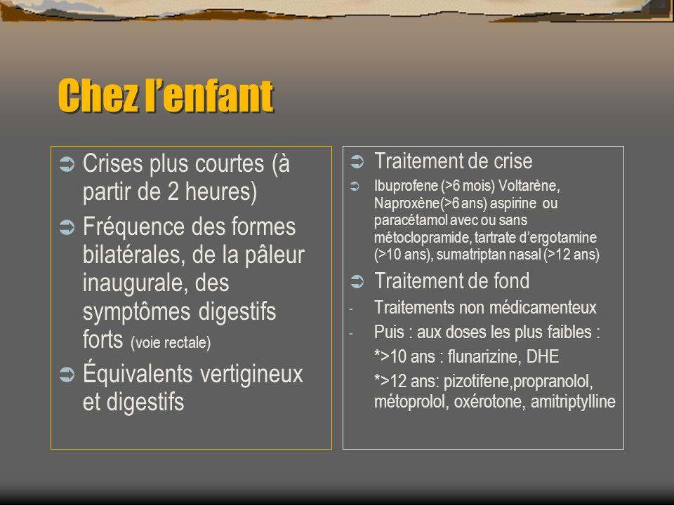Chez lenfant Crises plus courtes (à partir de 2 heures) Fréquence des formes bilatérales, de la pâleur inaugurale, des symptômes digestifs forts (voie