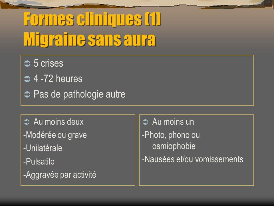 Formes cliniques (2) migraine avec aura Au moins 2 crises Au moins 3 critères - Symptômes neurologiques (visuels, sensitifs, dysphasiques,moteurs) - > 4 minutes - Moins de 60 minutes - Délai aura-céphalée < 60 minutes (parfois avant) Examen neuro normal hors crise