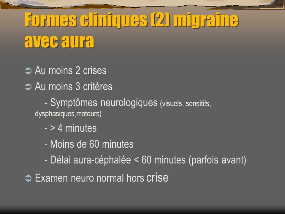 Formes cliniques (2) migraine avec aura Au moins 2 crises Au moins 3 critères - Symptômes neurologiques (visuels, sensitifs, dysphasiques,moteurs) - >