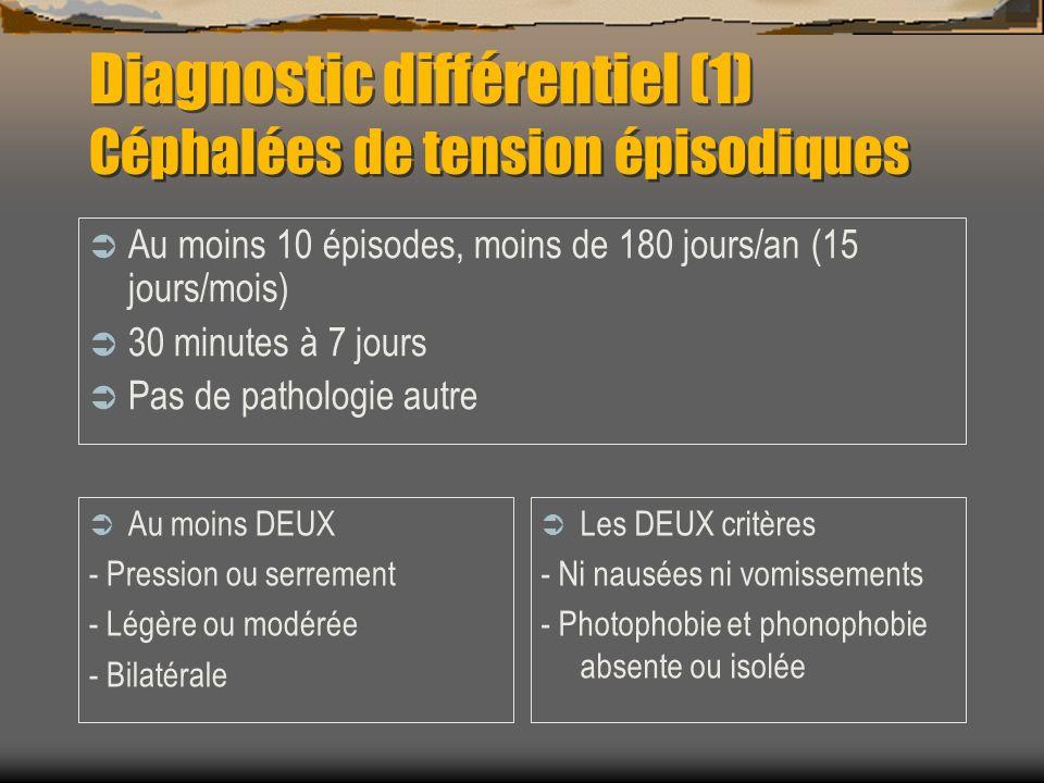 Diagnostic différentiel (2) Céphalées chroniques quotidiennes Plus de 15 jours /mois Depuis plus de 3 mois >4 heures/jour sans ttt Pas de cause lésionnelle Migraineuses Tensionnelles Mixtes RECHERCHER UN ABUS MEDICAMENTEUX