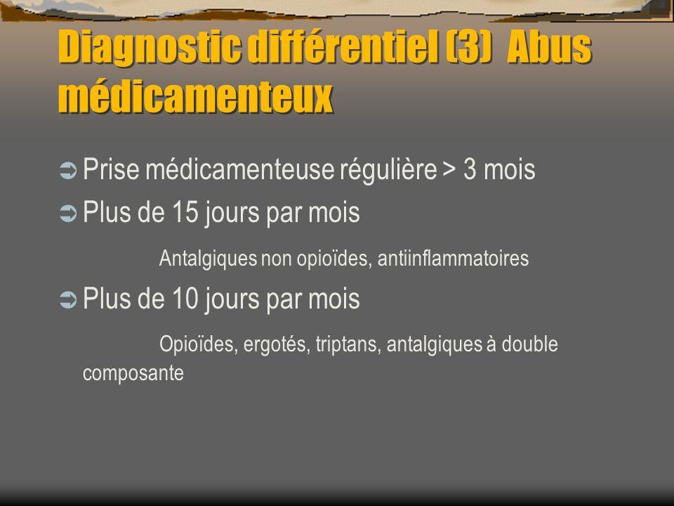 Diagnostic différentiel (3) Abus médicamenteux Prise médicamenteuse régulière > 3 mois Plus de 15 jours par mois Antalgiques non opioïdes, antiinflamm