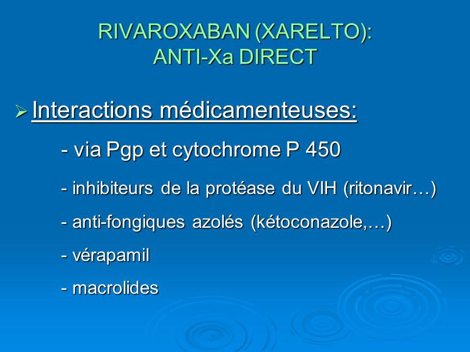 RIVAROXABAN (XARELTO): ANTI-Xa DIRECT Interactions médicamenteuses: - via Pgp et cytochrome P 450 - inhibiteurs de la protéase du VIH (ritonavir…) - anti-fongiques azolés (kétoconazole,…) - vérapamil - macrolides Interactions médicamenteuses: - via Pgp et cytochrome P 450 - inhibiteurs de la protéase du VIH (ritonavir…) - anti-fongiques azolés (kétoconazole,…) - vérapamil - macrolides