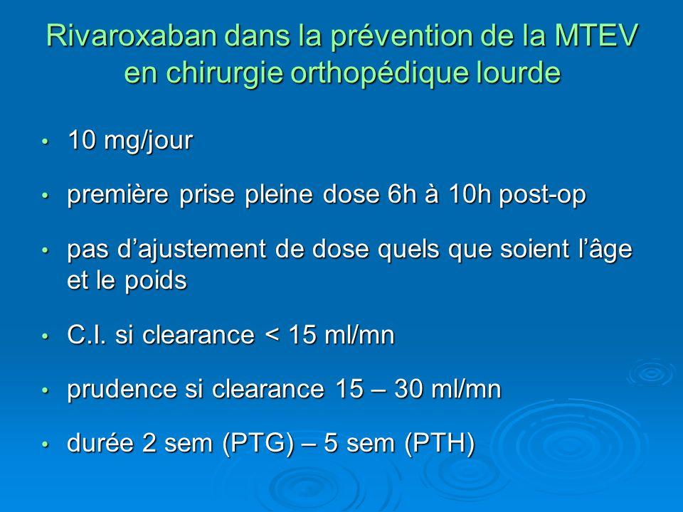 Rivaroxaban dans la prévention de la MTEV en chirurgie orthopédique lourde 10 mg/jour 10 mg/jour première prise pleine dose 6h à 10h post-op première prise pleine dose 6h à 10h post-op pas dajustement de dose quels que soient lâge et le poids pas dajustement de dose quels que soient lâge et le poids C.I.