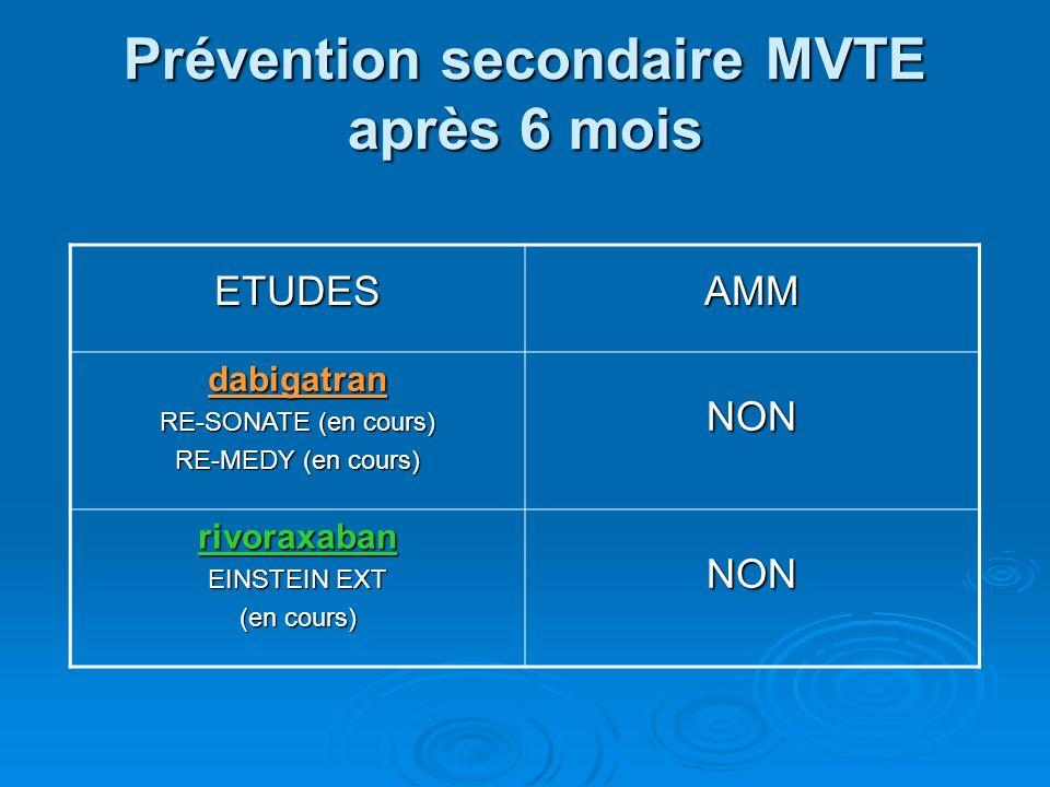 Prévention secondaire MVTE après 6 mois ETUDESAMM dabigatran RE-SONATE (en cours) RE-MEDY (en cours) NON rivoraxaban EINSTEIN EXT (en cours) NON
