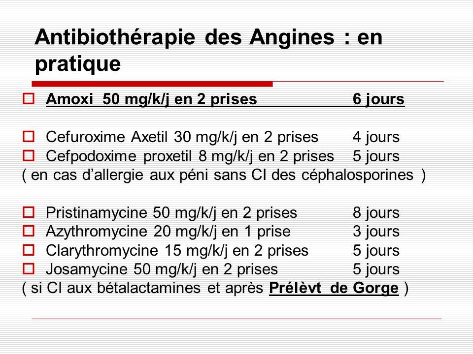 Antibiothérapie des Angines : en pratique Amoxi 50 mg/k/j en 2 prises 6 jours Cefuroxime Axetil 30 mg/k/j en 2 prises 4 jours Cefpodoxime proxetil 8 mg/k/j en 2 prises 5 jours ( en cas dallergie aux péni sans CI des céphalosporines ) Pristinamycine 50 mg/k/j en 2 prises 8 jours Azythromycine 20 mg/k/j en 1 prise 3 jours Clarythromycine 15 mg/k/j en 2 prises 5 jours Josamycine 50 mg/k/j en 2 prises 5 jours ( si CI aux bétalactamines et après Prélèvt de Gorge )