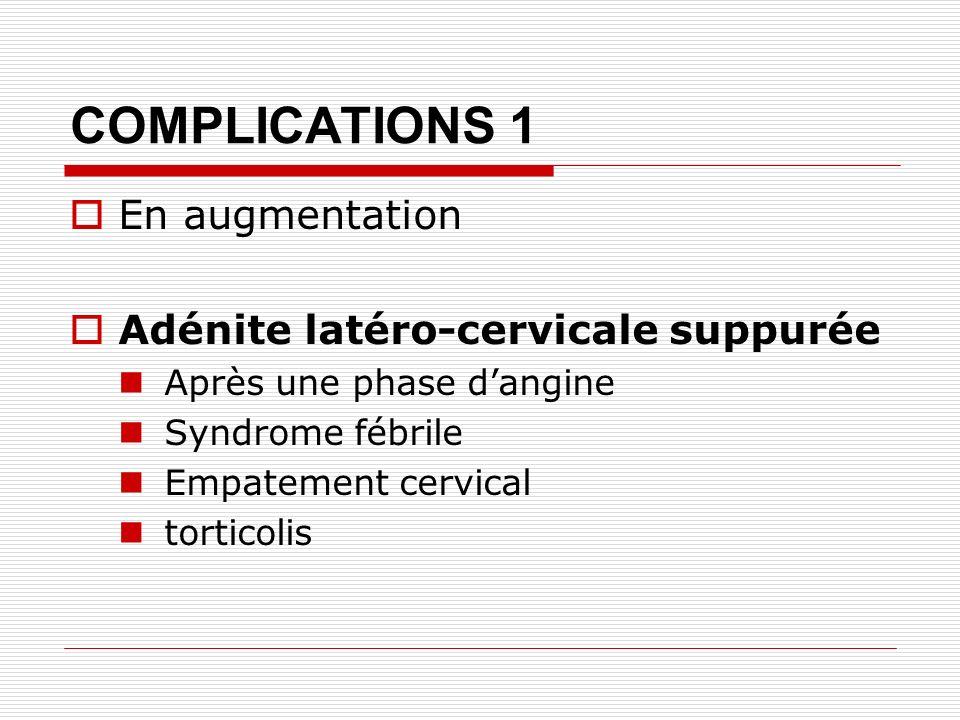 COMPLICATIONS 1 En augmentation Adénite latéro-cervicale suppurée Après une phase dangine Syndrome fébrile Empatement cervical torticolis