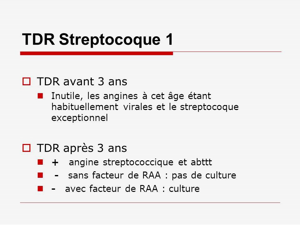 TDR Streptocoque 1 TDR avant 3 ans Inutile, les angines à cet âge étant habituellement virales et le streptocoque exceptionnel TDR après 3 ans + angine streptococcique et abttt - sans facteur de RAA : pas de culture - avec facteur de RAA : culture
